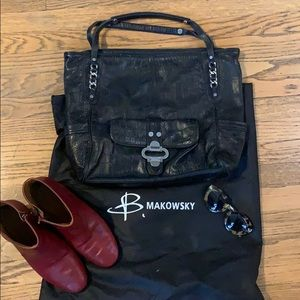 B. Makowsky Leather Tote Bag